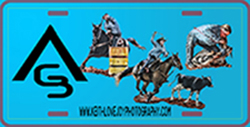License plate with rodeo events